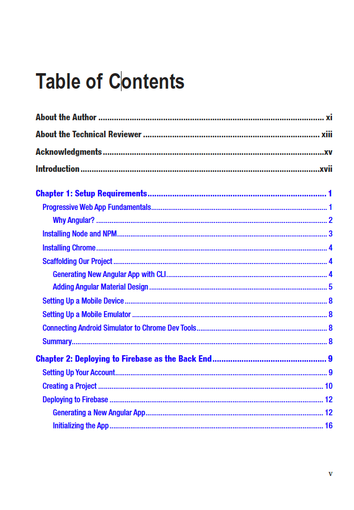 PWA with Angular Book, table of contents
